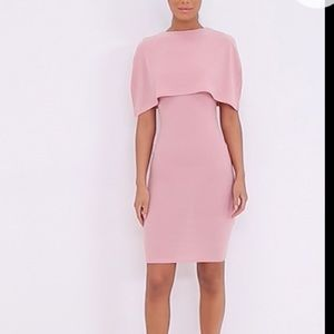 PrettyLittleThing Dusty Pink Cape Detail Dress